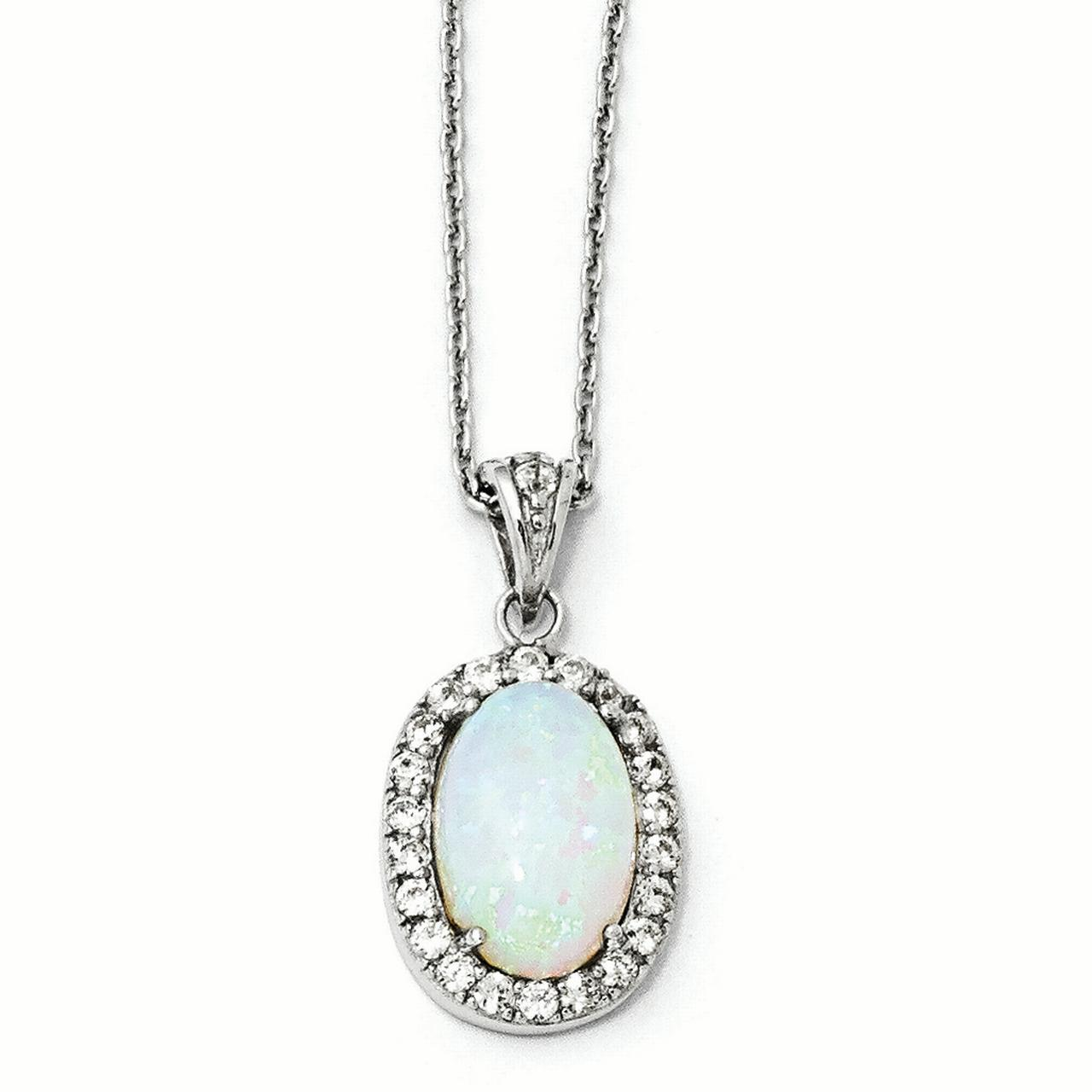Cheryl M Sterling Silver Synthetic Opal & Cubic Zirconia Pendant Necklace by Kevin Jewelers