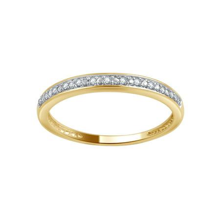 10K Yellow Gold Round Cut Pave Set Diamond Ring 0.05CT