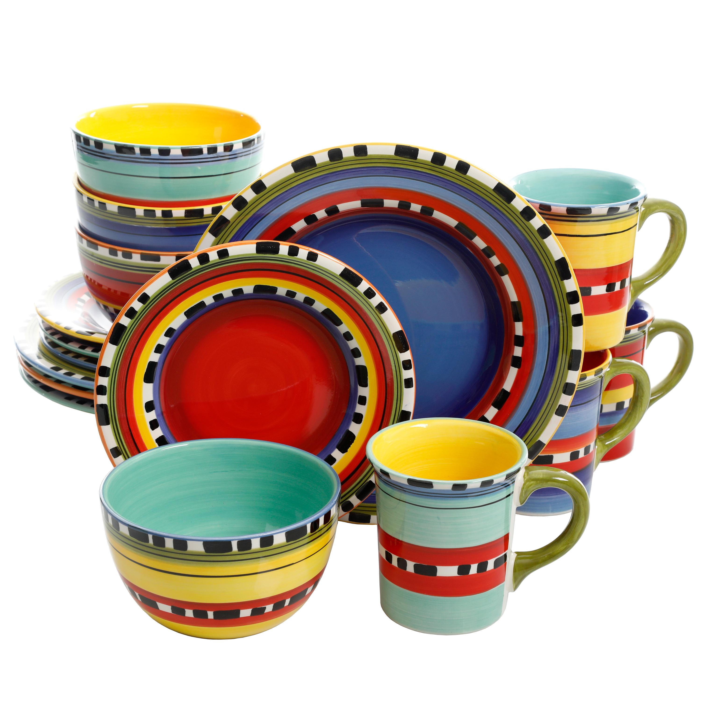Pueblo Springs 16 Piece Handpainted Design Multi-Color Dinnerware Set Picante  sc 1 st  eBay & Pueblo Springs 16 Piece Handpainted Design Multi-Color Dinnerware ...
