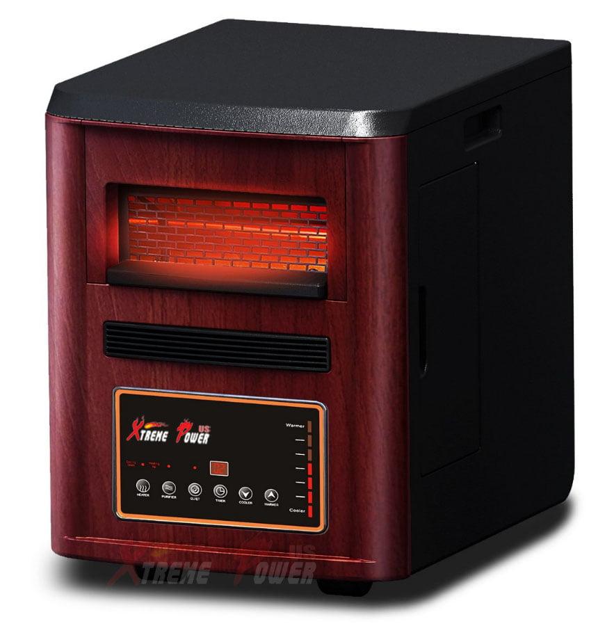 4 in1 Air Purifier Humidifier Quartz Infrared Heater Plasma Inverter 1500W, Cherry
