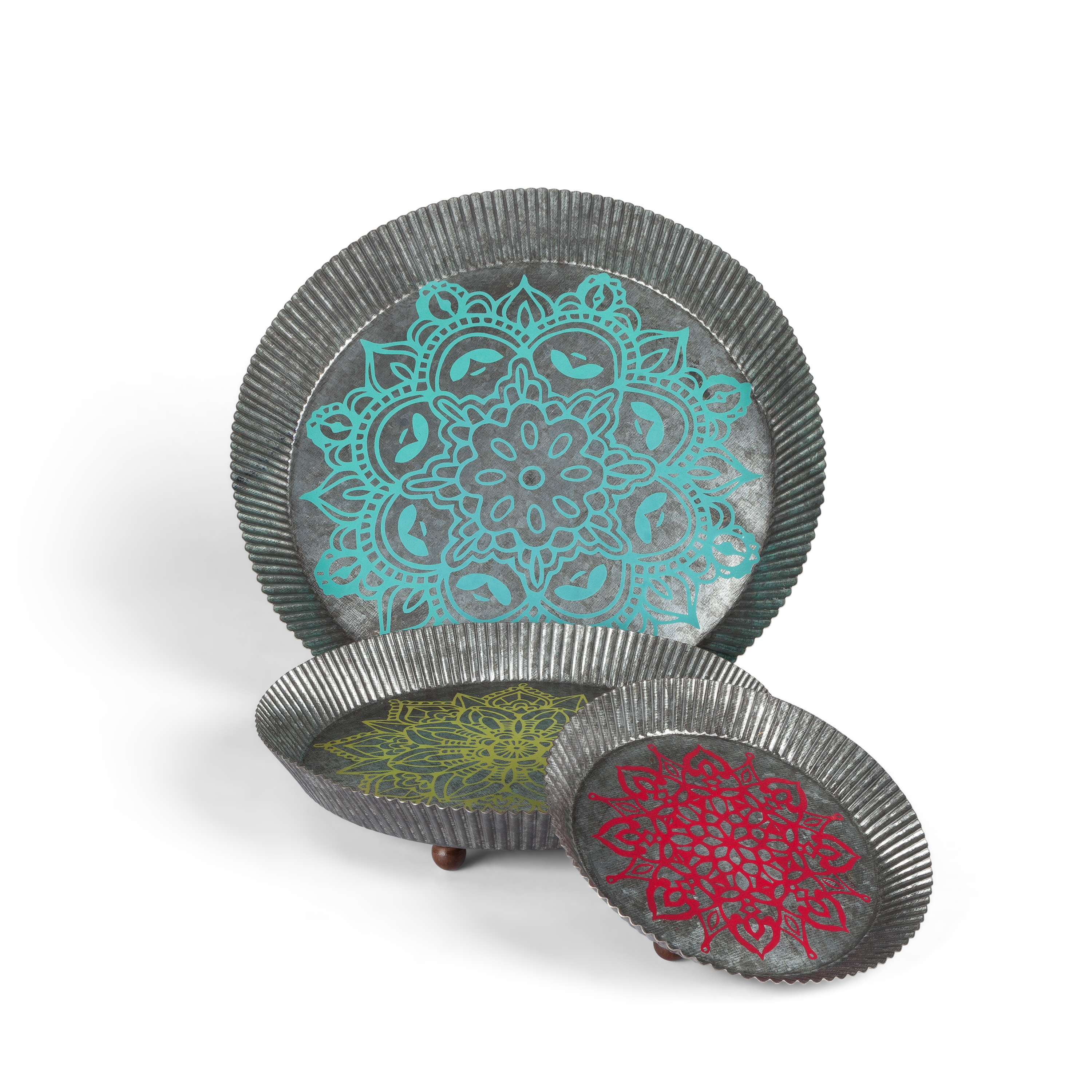 Nested, Multi-Colored, Crimped Metal Mandala Trays with Wooden Knob Feet in Assorted Sizes (Set of 3)