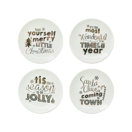 """Holiday Gold Set of 4 Plates 8""""D"""