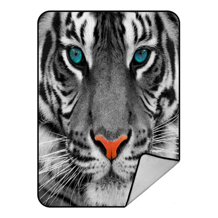 - PHFZK Animal Blanket, The Eyes of White Tiger King Fleece Blanket Crystal Velvet Front and Lambswool Sherpa Fleece Back Throw Blanket 58x80inches