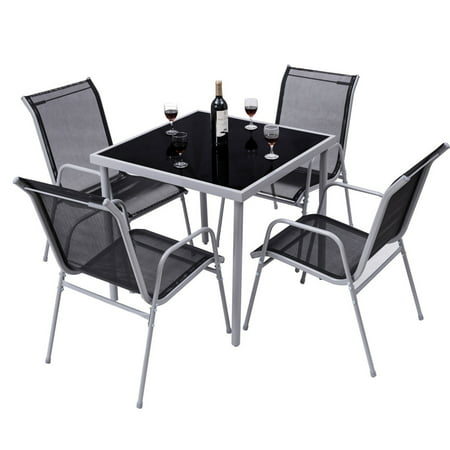 Costway 5 PCS Bistro Set Garden Set of Chairs and Table Outdoor Patio Furniture ()