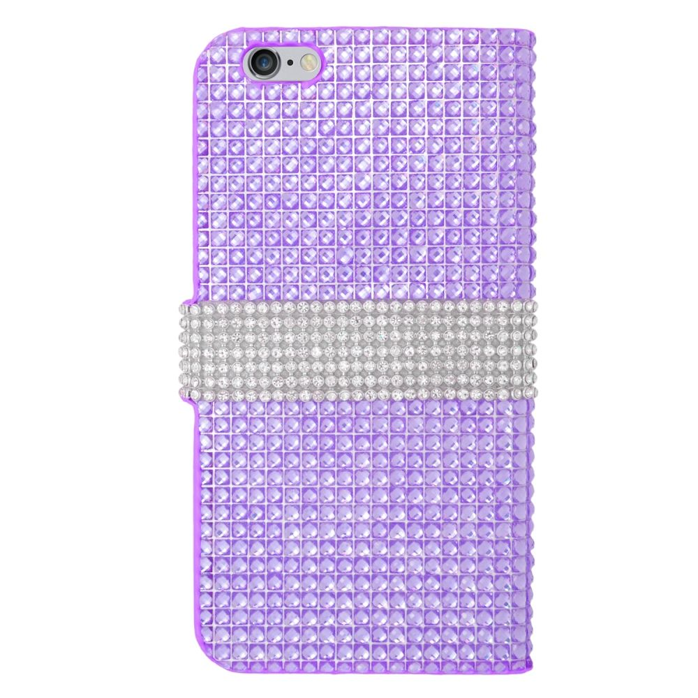Insten Leather Wallet Diamond Case with Card slot For iPhone 6s Plus / 6 Plus - Purple/Silver - image 1 of 3