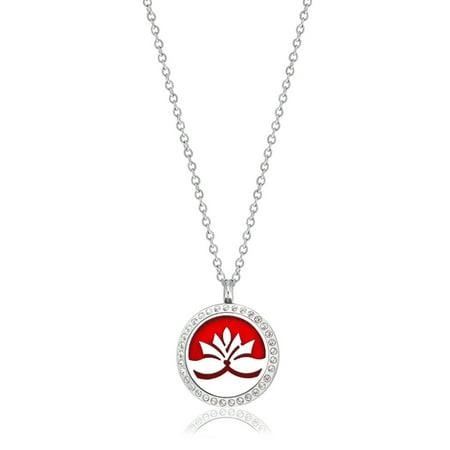 Anavia Medium Rhinestone Lotus Aromatherapy Jewelry Essential Oil Necklace With Gift Box