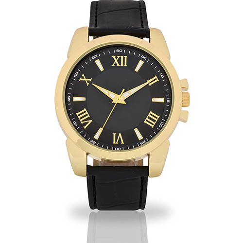 Image of Men's Black Face Fashion Watch, Faux Leather Band