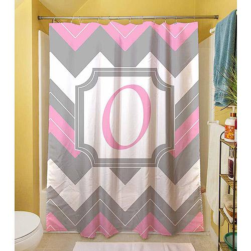 MWW, Inc. Thumbprintz Chevron Monogram Pink Shower Curtain