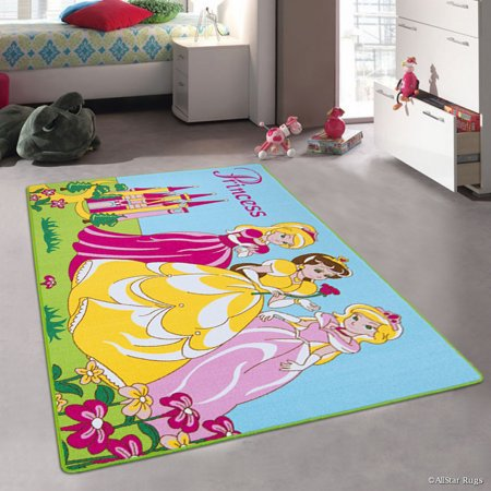 Allstar Purple Rug Kids Baby Room Area Princess Bright Colorful Vibrant Blue And