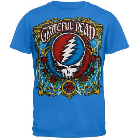 Grateful Dead - Steal Your Roses Light Bue T-Shirt - Dead Rose