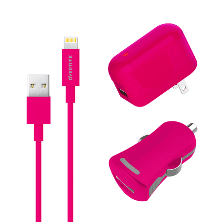Overtime 2.4Amp Home & Car Charging Set With 4ft Lightning USB Cable