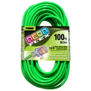 Prime NS512835 100' 12/3 SJTW Neon Green Neon Flex Extension Cord