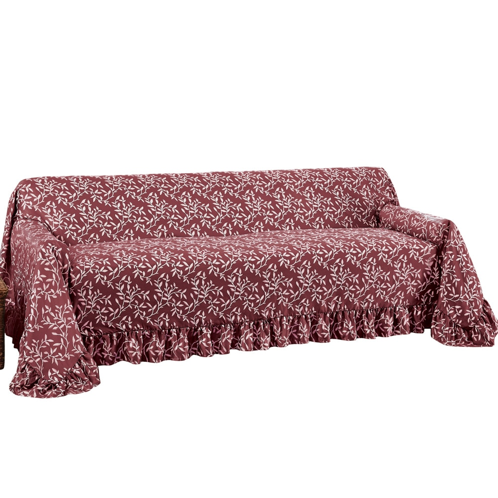Collections Etc. Leaf Patterned Furniture Cover with Ruffle Borders, Furniture Protector with Leaf Design, Chair, Chocolate