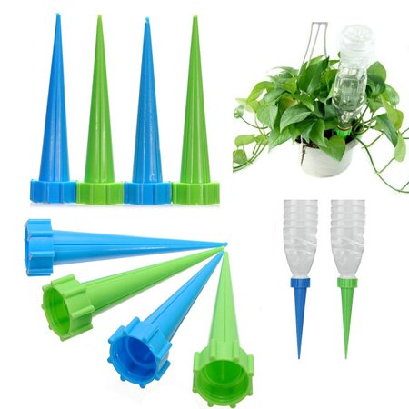 Meigar 4/8Pcs Automatic Garden Cone Watering Spike Water Control Drip Cone Spike Flower Plant Waterers Bottle Irrigation System Care Your Flowers (House Plant Watering System)