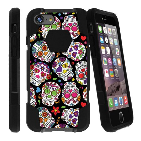 new product c9319 04efb Case for Apple iPhone 7 PLUS | iPhone 7 PLUS Hybrid Case [ Shock Fusion ]  High Impact Shock Resistant Shell Case + Kickstand - Girly Sugar Skulls