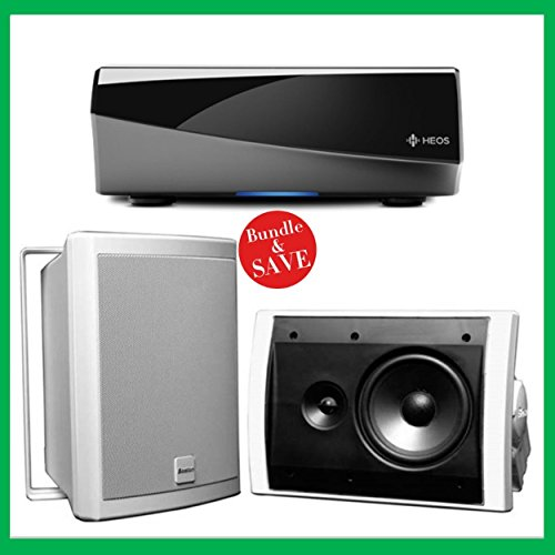 Denon HEOS Wireless Amplifier & 2 Boston Acoustics Voyager 70 Outdoor Speakers Bundle (White)
