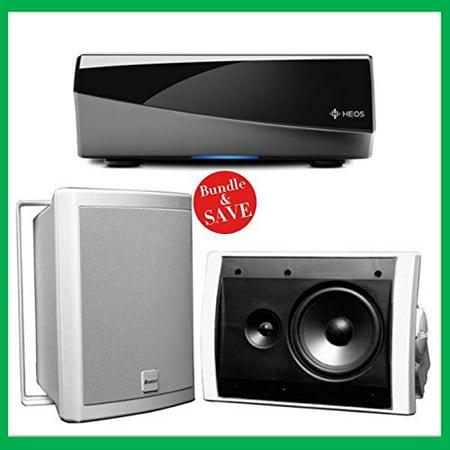 Denon HEOS Wireless Amplifier & 2 Boston Acoustics Voyager 60 Outdoor  Speakers Bundle (White)