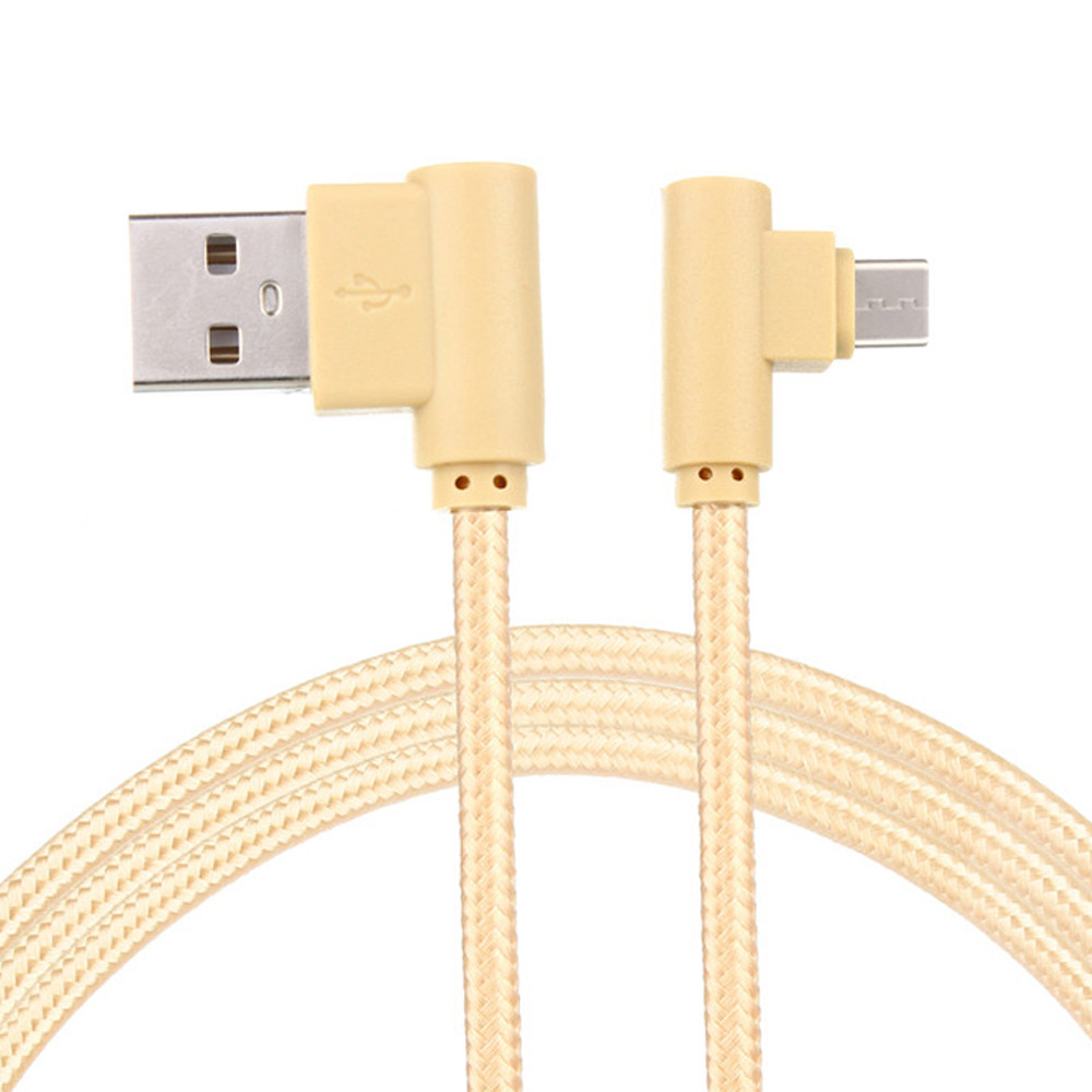 DZT1968 Nylon Braided Micro USB 90 Degree Right Angle 2A Fast Data Sync Charger Cable