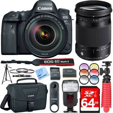 Canon Eos 6D Mark II 26.2MP DSLR Camera w/24-105mm Is II and 18-300mm F3.5-6.3 Lenses - image 1 of 1