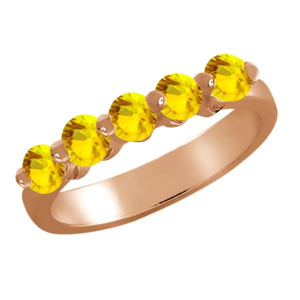0.65 Ct Round Yellow Sapphire 18K Rose Gold Ring