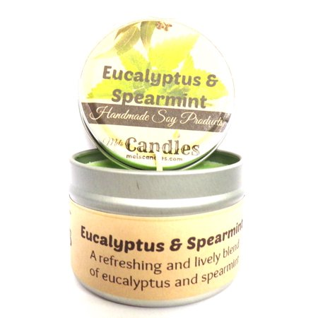 Eucalyptus and Spearmint 4 ounce 100% Handmade Soy Candle Tin (Take It Any Where) ()