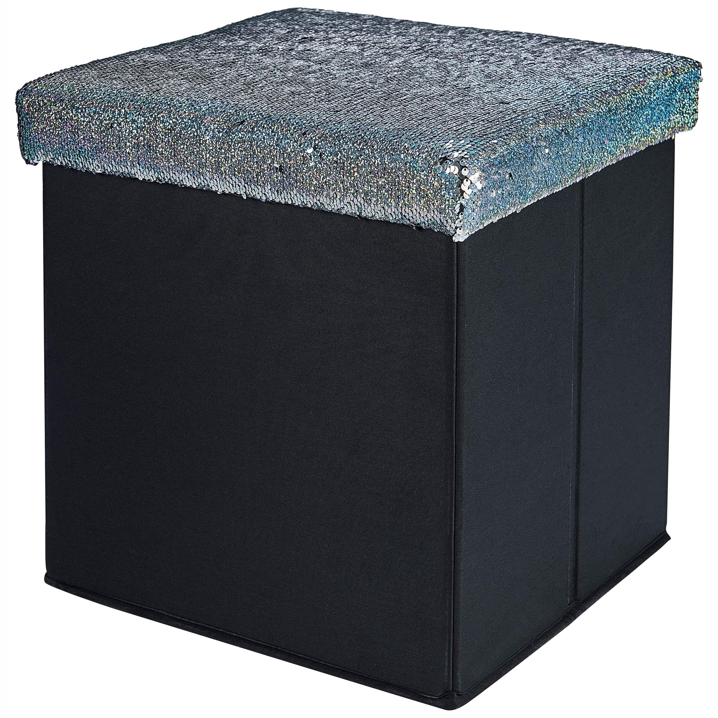 Mainstays Collapsible Storage Ottoman in Glitter Holo