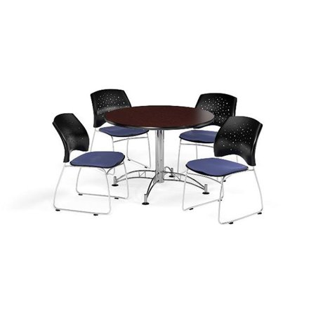 Ofm Pkg Brk 168 0036 Breakroom Package Featuring 42 In  Round Multi Purpose Table With Four Stars Stack Chairs