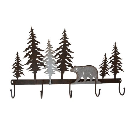 Pine Ridge Bear Metal Wall Art With 5 Hanging Hooks   Western Decorative Metal Heavy Duty Wall Mount Hooks For Home  Kitchen And Bathroom