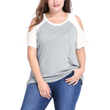 Cold Shoulder Tie Sleeve Top (Women's Plus Size Cold Shoulder Contrast Raglan Sleeves Tee Top Shirt Blouse Gray 1X )
