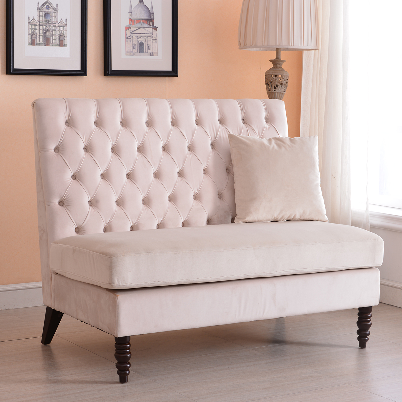 Belleze Beige Modern Loveseat Bench Sofa Tufted Settee High Back Love Seat  Bedroom, Velvet