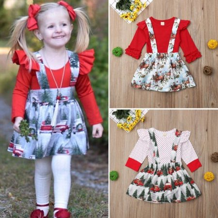 Christmas Outfits.Newborn Kids Baby Girl Christmas Outfits Clothes Romper Overall Skirts 2pcs Set