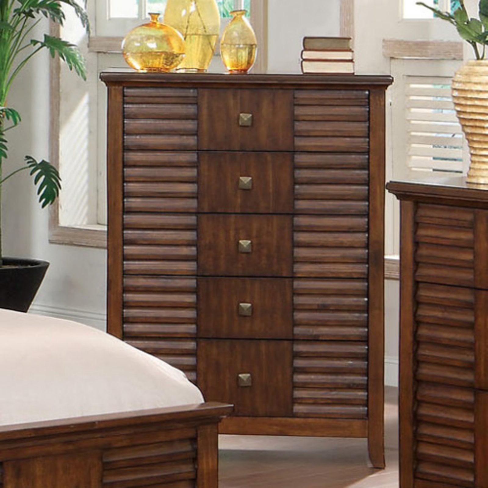 Furniture of America Stenner Slats 5 Drawer Chest - Walnut