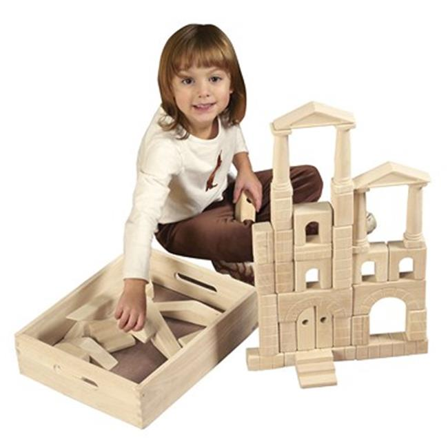 Early Childhood Resources ELR-19003 48 Pc Architectural Blocks with Carry Case