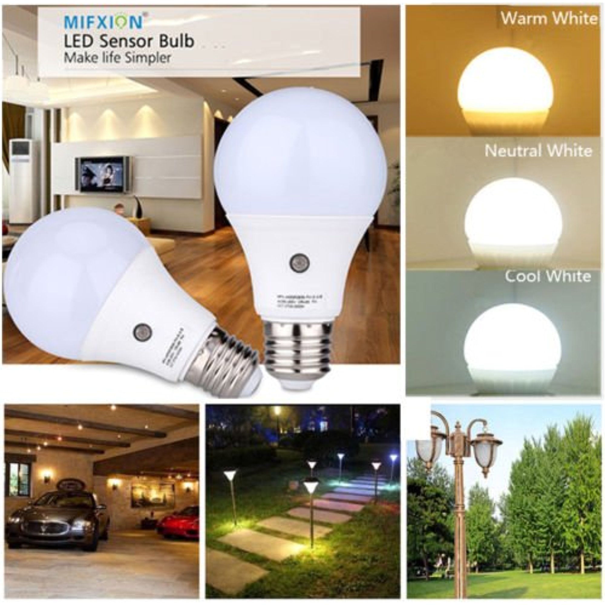 Sensor Bulbs,TOPCHANCES E27 LED Sensor Light Bulb Lamp Auto Switch Stairs Night Light (9W 810Lumens, Warm White)