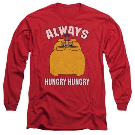 Trevco Sportswear HBRO268-AL-3 Hungry Hungry Hippos & Hungry 18 by 1 Adult Long Sleeve T-Shirt, Red -