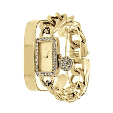 Texas A&m Wrist Watch - Arm Candy Via Nova Ladies Fashion Gold Watch with a Set of 2 Bracelets