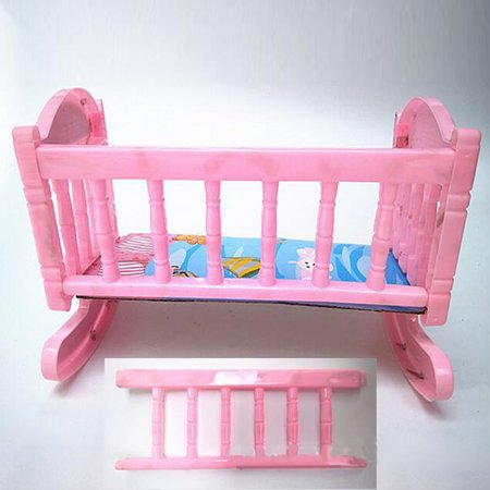 Doll Pink Rocking Bed Sleeping Bed Doll Plastic Accessory Toy Bed for Children
