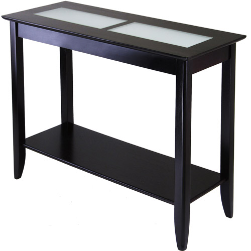 Winsome Wood Syrah Console Table with Frosted Glass Top, Espresso Finish