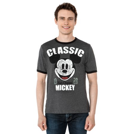 Men's Mickey Mouse Classic 1928 Ringer T-Shirt Short Sleeve Gray