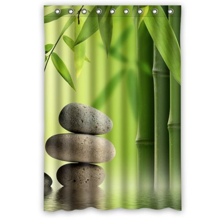 HelloDecor Green Bamboo Pebbles Shower Curtain Polyester Fabric Bathroom Decorative Size 48x72 Inches