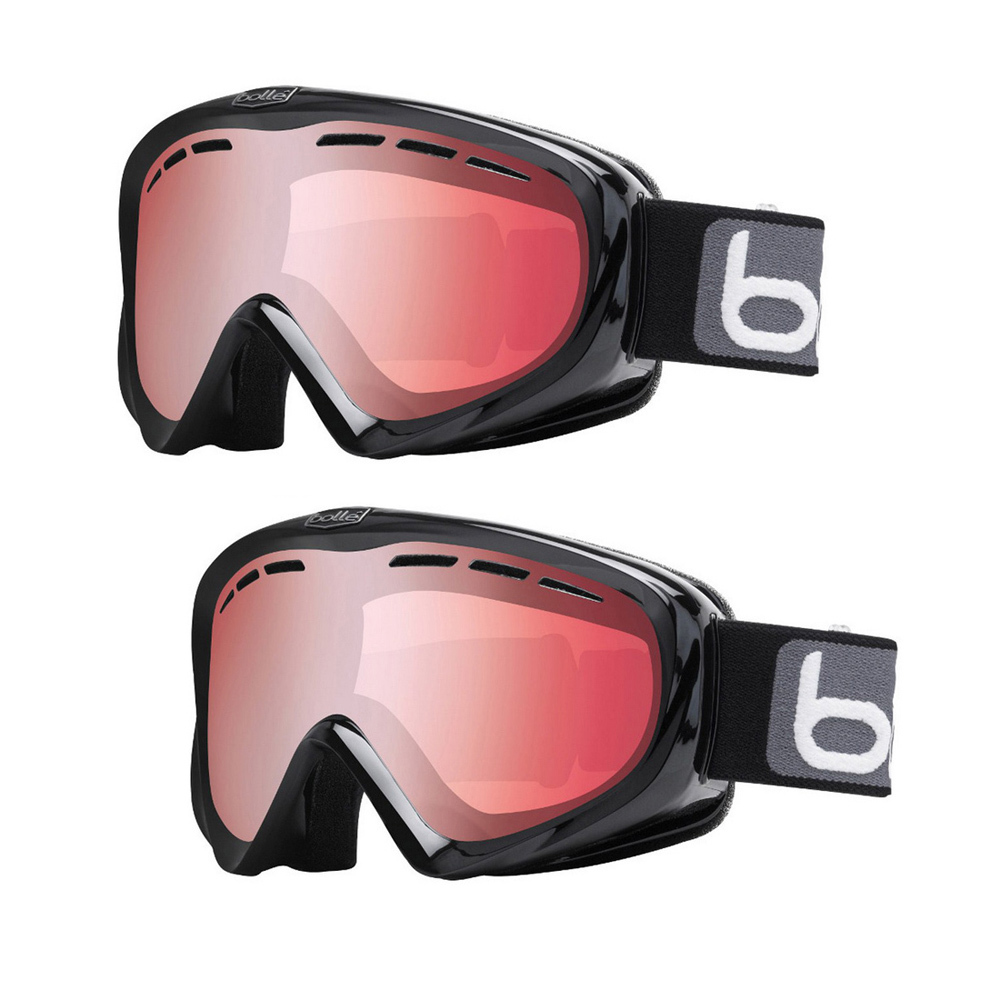 Bolle Y6 OTG Snow Ski Goggles with Black Frame and Vermilion Gun Lens (2-Pack) by Bolle