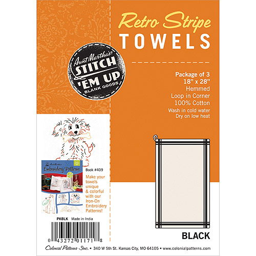 "Vintage Stripe Towel 18""X28"" 3/Pkg-White W/Black Stripe"