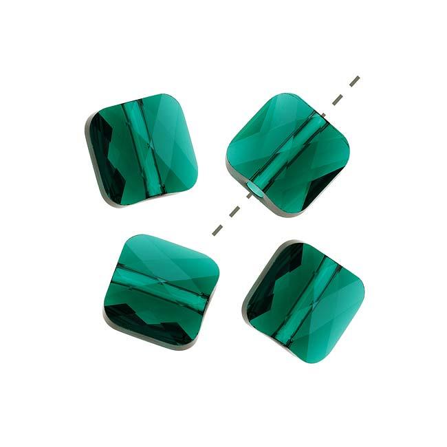 Swarovski Crystal, #5053 Square Mini Beads 6mm, 4 Pieces, Emerald