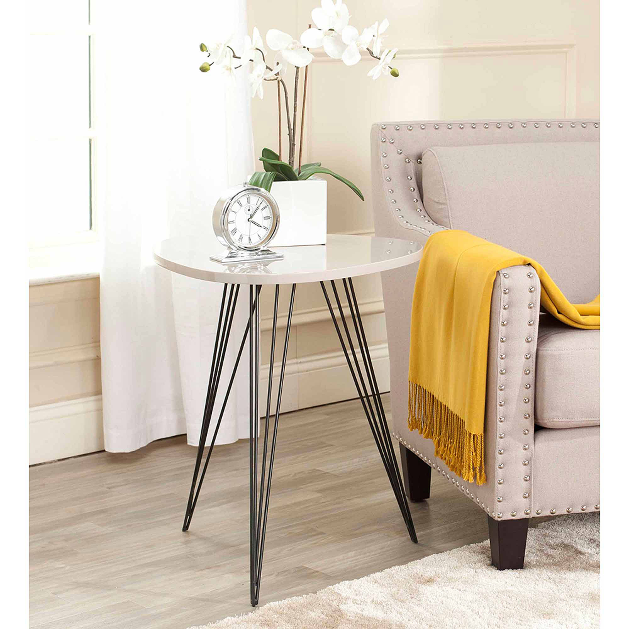 Safavieh Wolcott Lacquer Side Table, Taupe/Black