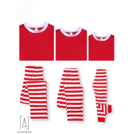 (GustaveDesign Matching Family Christmas Pajamas Set Cotton Tops Striped Trousers Sleepwear for Dad Mom Kids)
