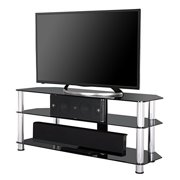 Fitueyes Tempered Glass Corner TV stand Fit for up to 52-inch LCD LED OLED TVs Black FTS312002GB