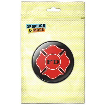 Fire Department Firefighter FD Red Maltese Cross on Black Pinback Button Pin Badge