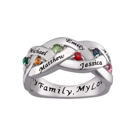 Personalized Women's Sterling Silver Family Name and Birthstone Ring Family Name Ring