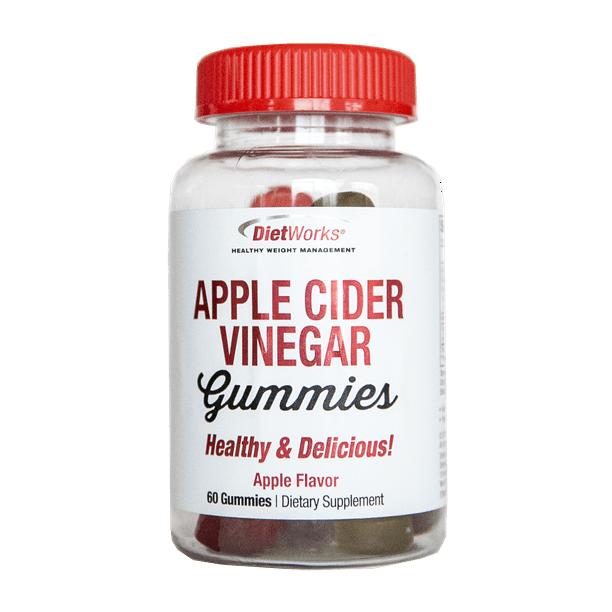 DietWorks Apple Cider Vinegar Gummies Dietary Supplement, Water Balance, Weight Loss, Digestion Support, Delicious, 30 Servings