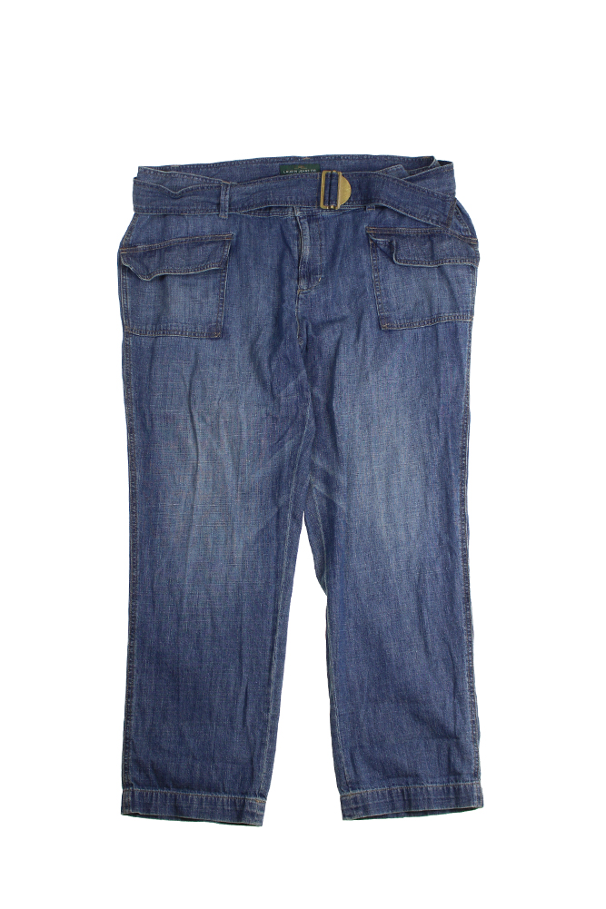 Lauren Ralph Lauren Plus Size Blue Rolled-Cuff Jeans 16W
